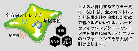シミズが採用するアウター素材「SD」は、全方向ストレッチと超撥水性を追求した柔軟で着心地のいい生地。ハードなフィッシングシーンでウエア内を快適に保ち、アングラーのパフォーマンスを最大限に引き出します。